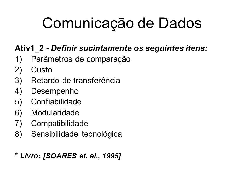 Comunicação de Dados Ativ1_2 - Definir sucintamente os seguintes itens: Parâmetros de comparação. Custo.
