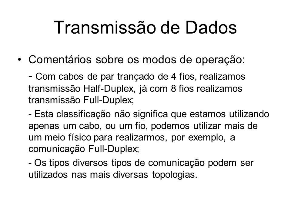 Transmissão de Dados Comentários sobre os modos de operação: