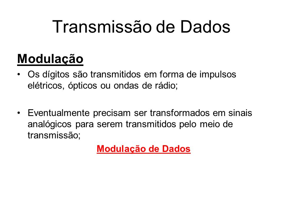Transmissão de Dados Modulação
