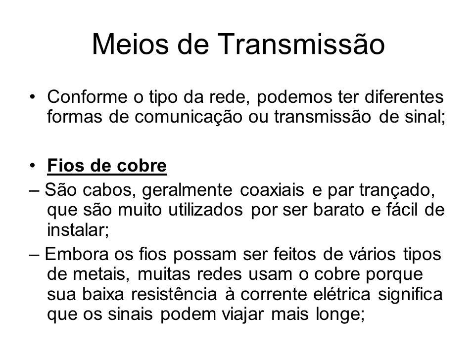 Meios de Transmissão Conforme o tipo da rede, podemos ter diferentes formas de comunicação ou transmissão de sinal;