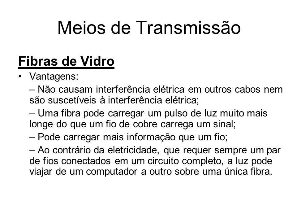 Meios de Transmissão Fibras de Vidro Vantagens:
