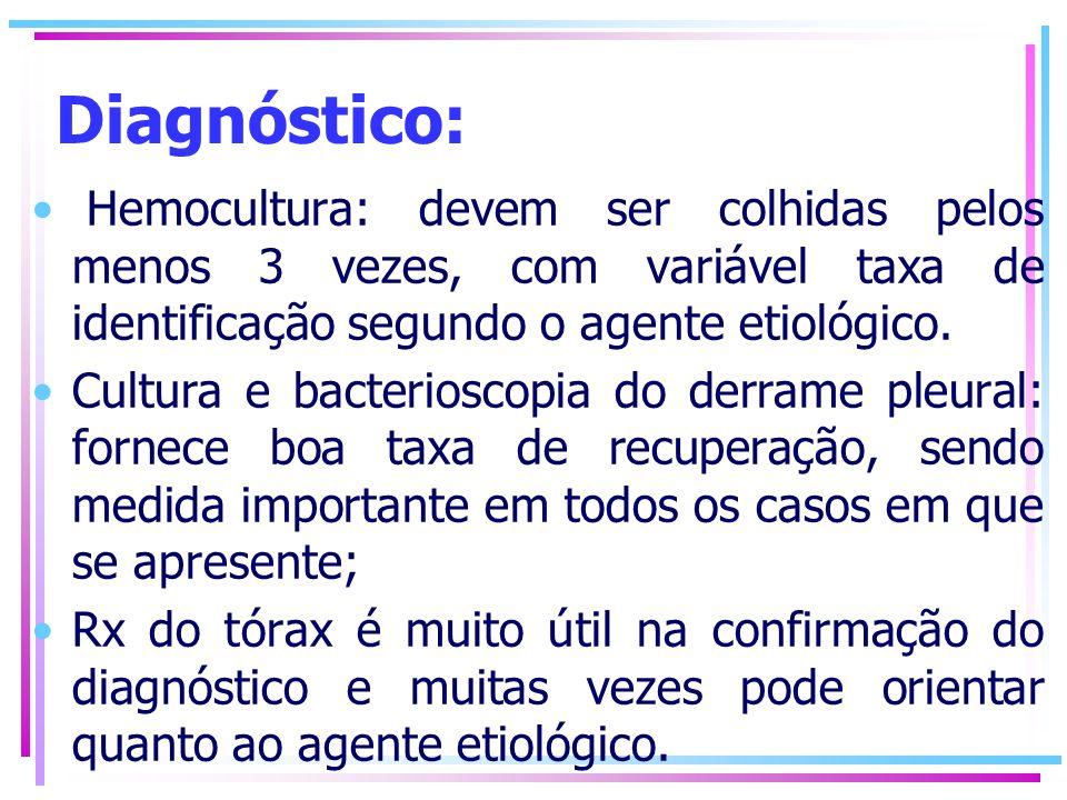 Diagnóstico: Hemocultura: devem ser colhidas pelos menos 3 vezes, com variável taxa de identificação segundo o agente etiológico.