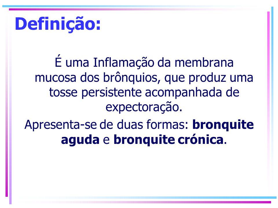 Apresenta-se de duas formas: bronquite aguda e bronquite crónica.