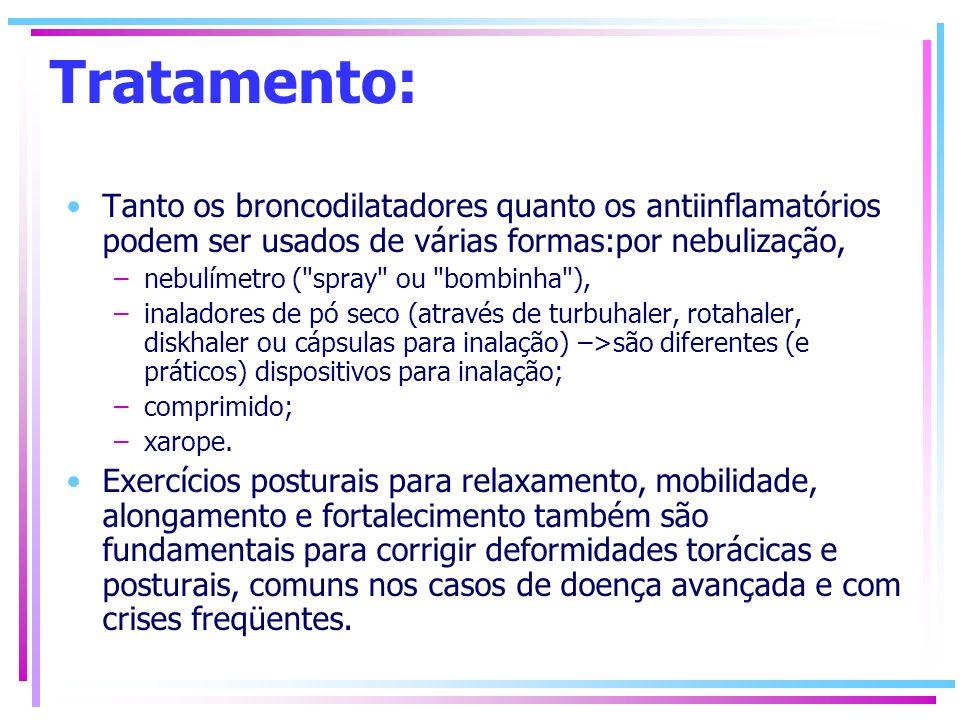 Tratamento: Tanto os broncodilatadores quanto os antiinflamatórios podem ser usados de várias formas:por nebulização,