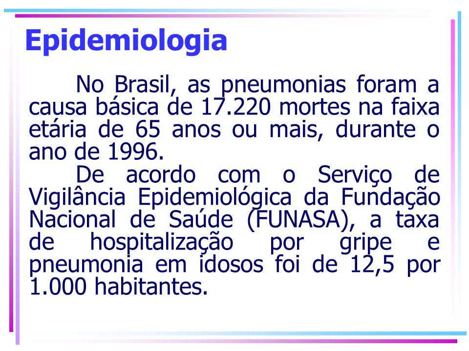 Epidemiologia No Brasil, as pneumonias foram a causa básica de 17.220 mortes na faixa etária de 65 anos ou mais, durante o ano de 1996.