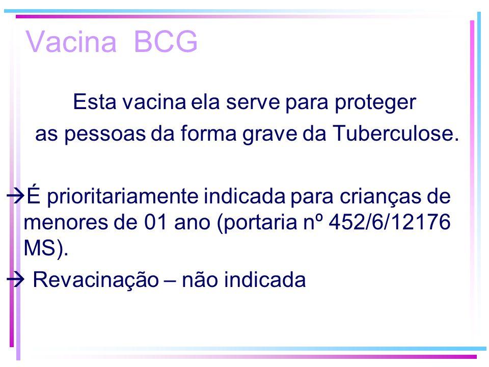 Vacina BCG Esta vacina ela serve para proteger