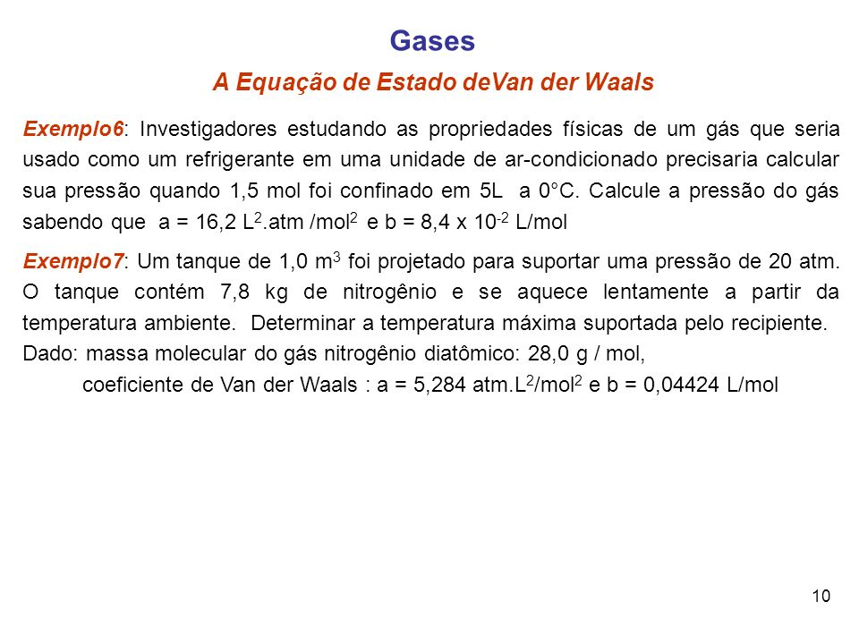 Gases A Equação de Estado deVan der Waals