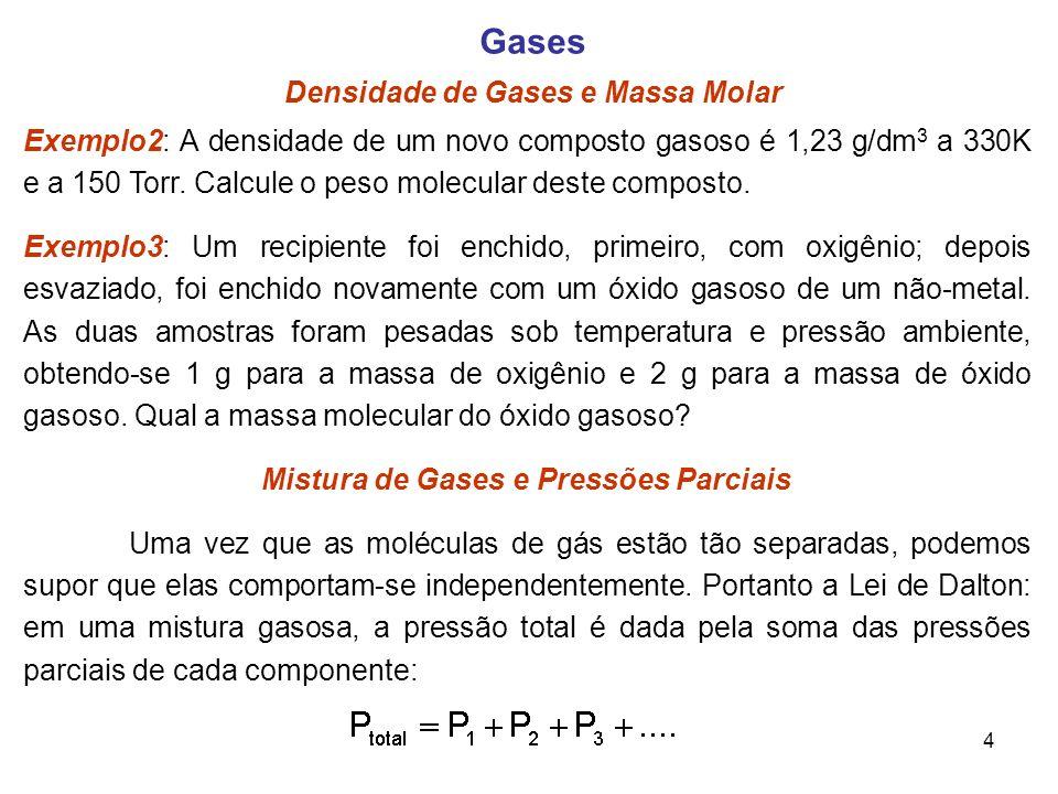 Mistura de Gases e Pressões Parciais