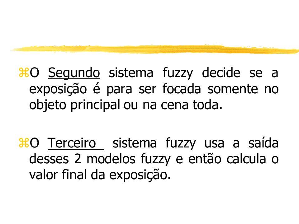 O Segundo sistema fuzzy decide se a exposição é para ser focada somente no objeto principal ou na cena toda.
