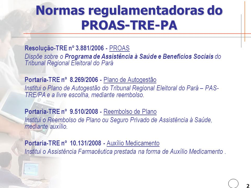 Normas regulamentadoras do PROAS-TRE-PA