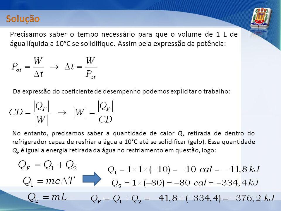 Solução Precisamos saber o tempo necessário para que o volume de 1 L de água líquida a 10°C se solidifique. Assim pela expressão da potência: