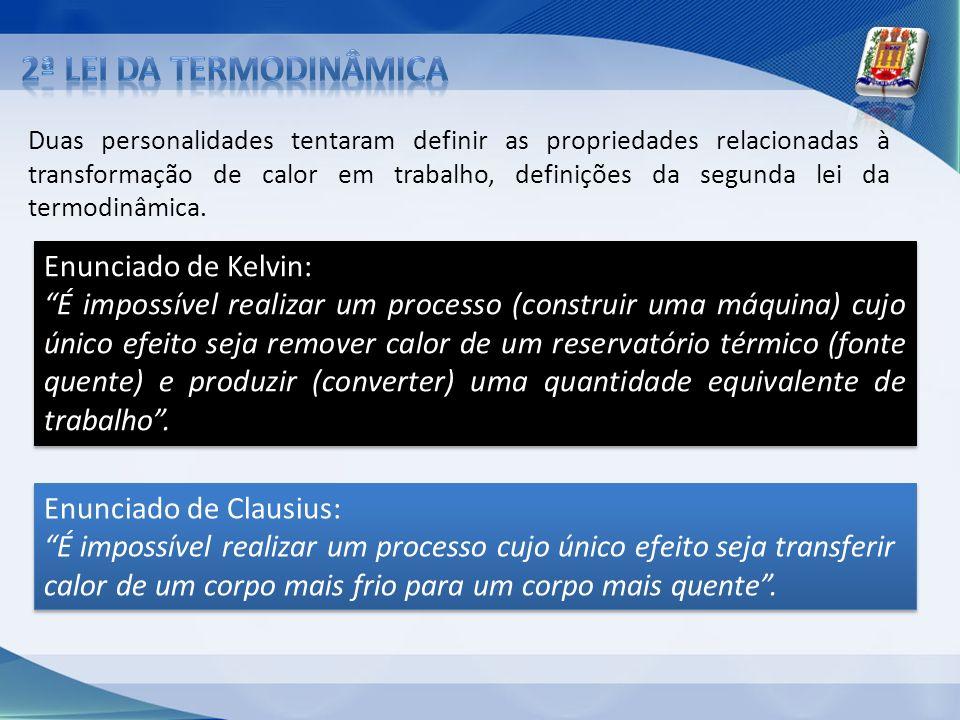 2ª lei da Termodinâmica Enunciado de Kelvin: