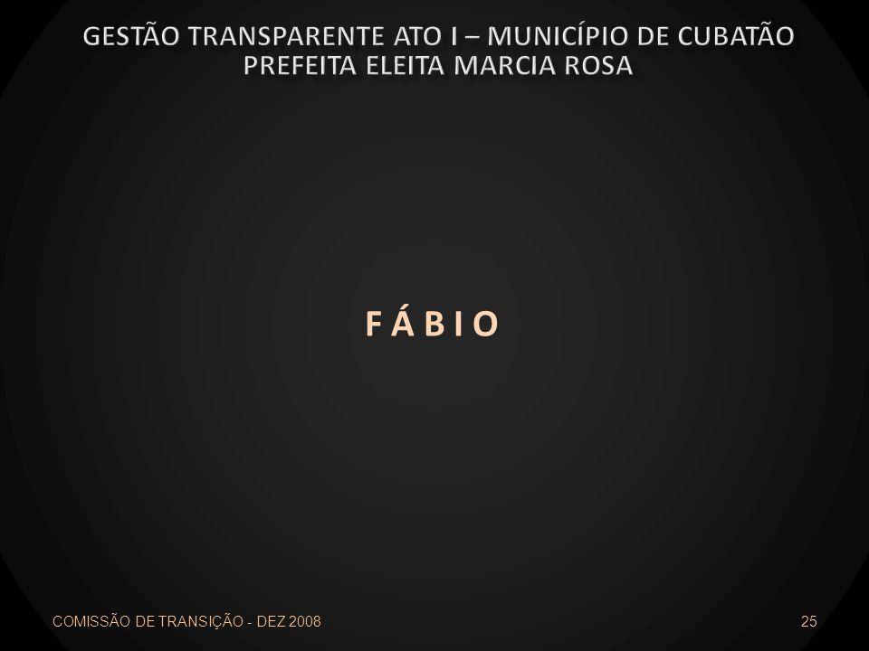 F Á B I O Gestão transparente ato I – município de cubatão
