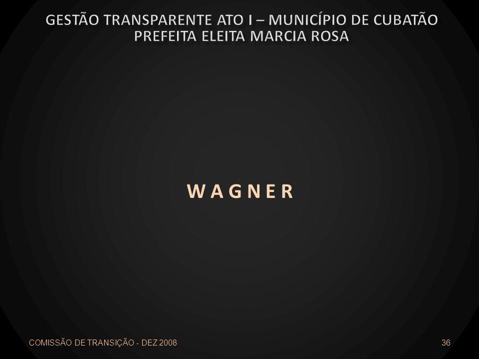W A G N E R Gestão transparente ato I – município de cubatão
