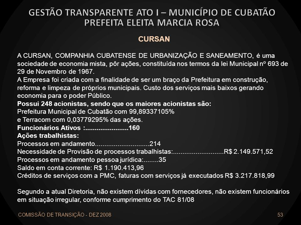 Gestão transparente ato I – município de cubatão