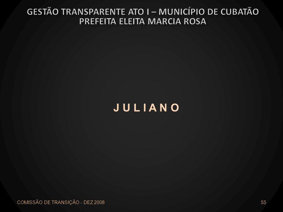 J U L I A N O Gestão transparente ato I – município de cubatão