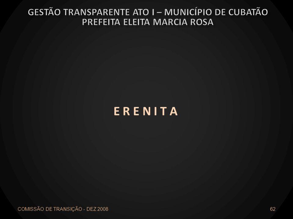 E R E N I T A Gestão transparente ato I – município de cubatão