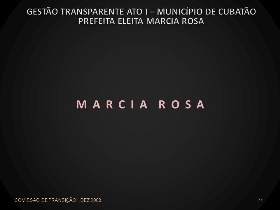 M A R C I A R O S A Gestão transparente ato I – município de cubatão
