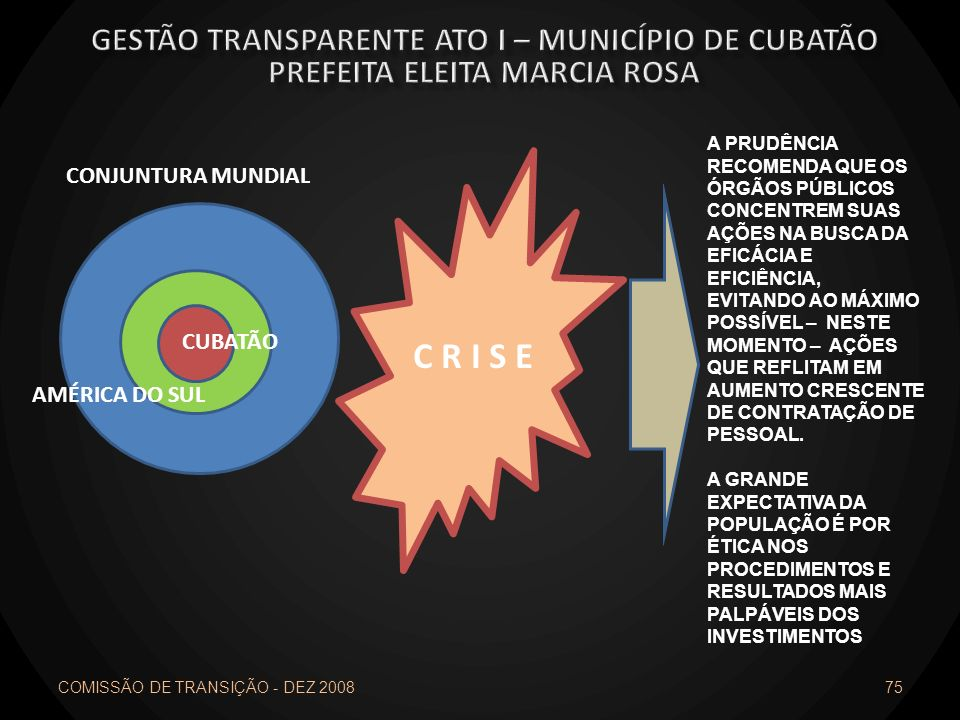 C R I S E Gestão transparente ato I – município de cubatão