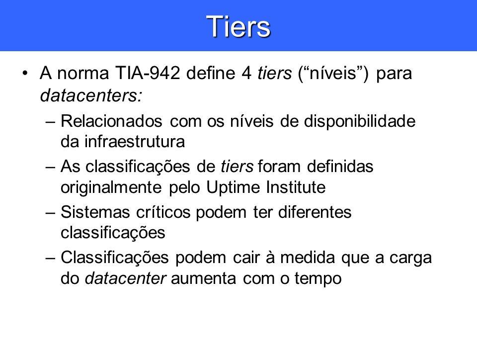 Tiers A norma TIA-942 define 4 tiers ( níveis ) para datacenters: