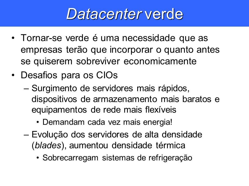 Datacenter verde Tornar-se verde é uma necessidade que as empresas terão que incorporar o quanto antes se quiserem sobreviver economicamente.