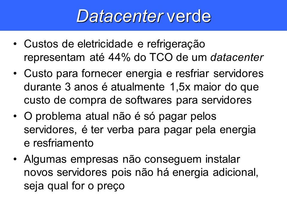 Datacenter verde Custos de eletricidade e refrigeração representam até 44% do TCO de um datacenter.