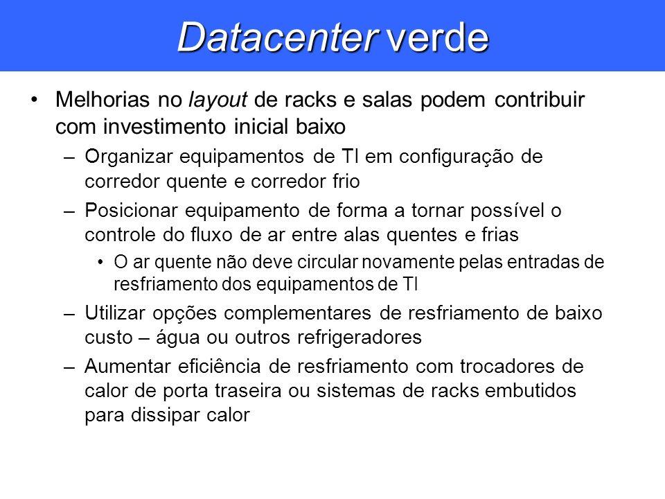 Datacenter verde Melhorias no layout de racks e salas podem contribuir com investimento inicial baixo.