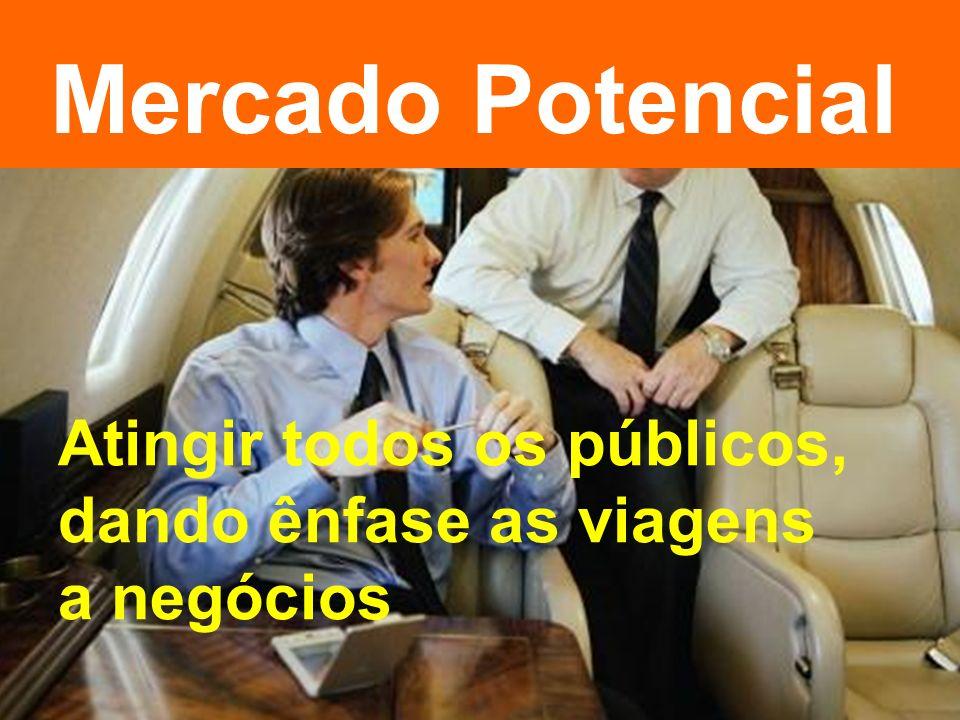 Mercado Potencial Atingir todos os públicos, dando ênfase as viagens a negócios