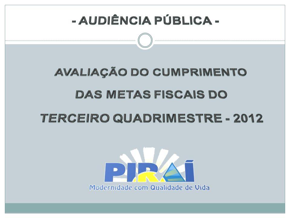 AVALIAÇÃO DO CUMPRIMENTO TERCEIRO QUADRIMESTRE - 2012
