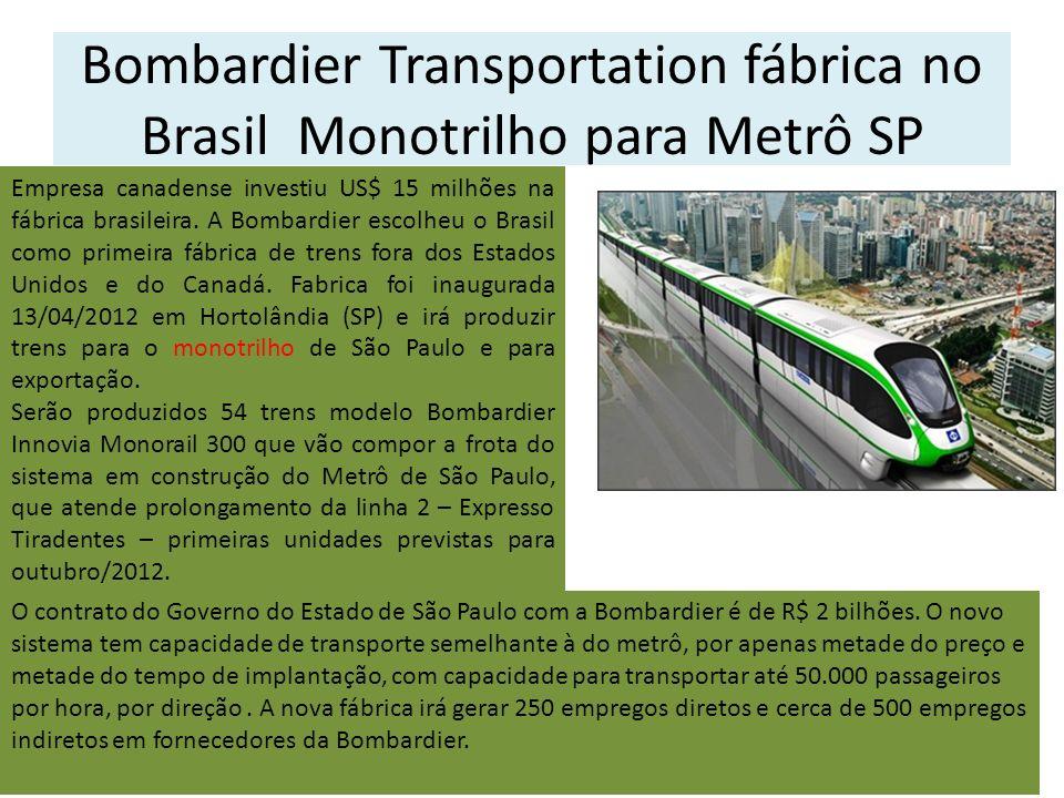 Bombardier Transportation fábrica no Brasil Monotrilho para Metrô SP