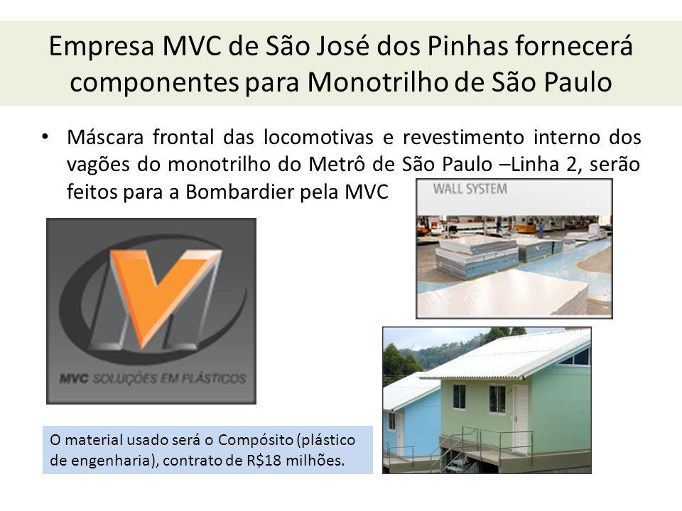 Empresa MVC de São José dos Pinhas fornecerá componentes para Monotrilho de São Paulo