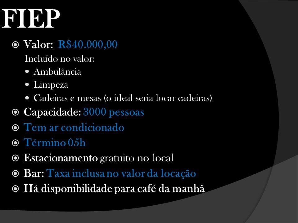 FIEP Valor: R$40.000,00 Capacidade: 3000 pessoas Tem ar condicionado