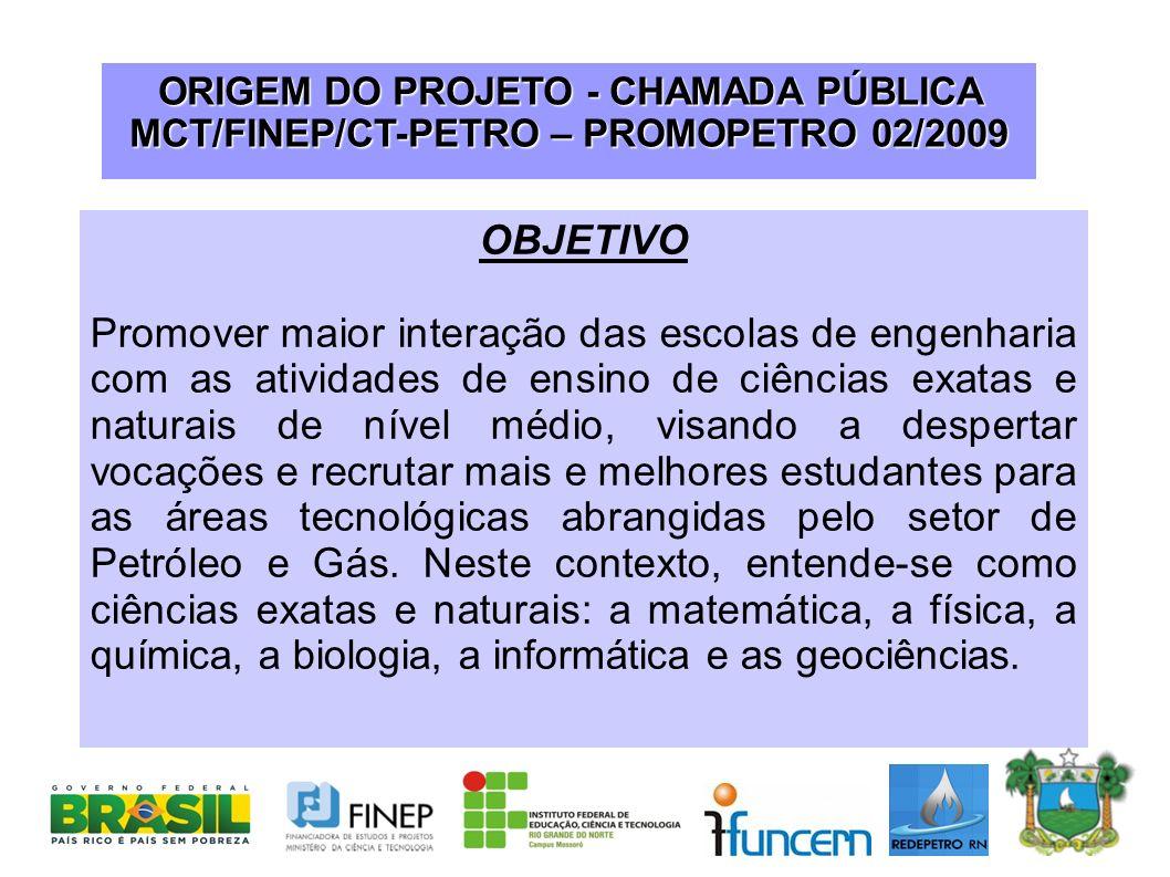 ORIGEM DO PROJETO - CHAMADA PÚBLICA MCT/FINEP/CT-PETRO – PROMOPETRO 02/2009