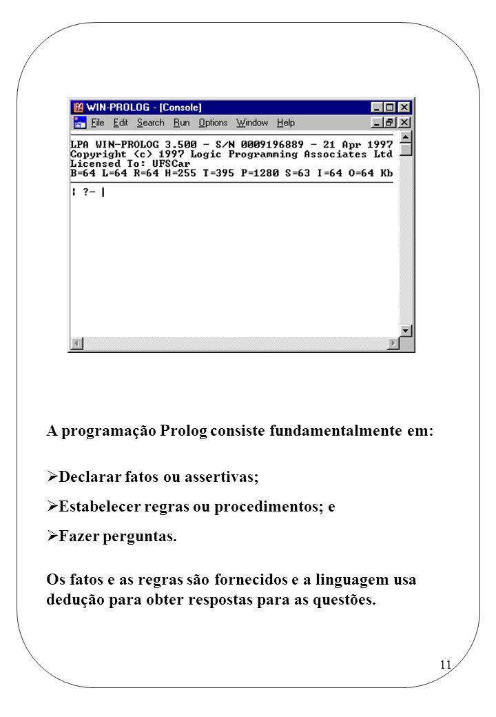 A programação Prolog consiste fundamentalmente em:
