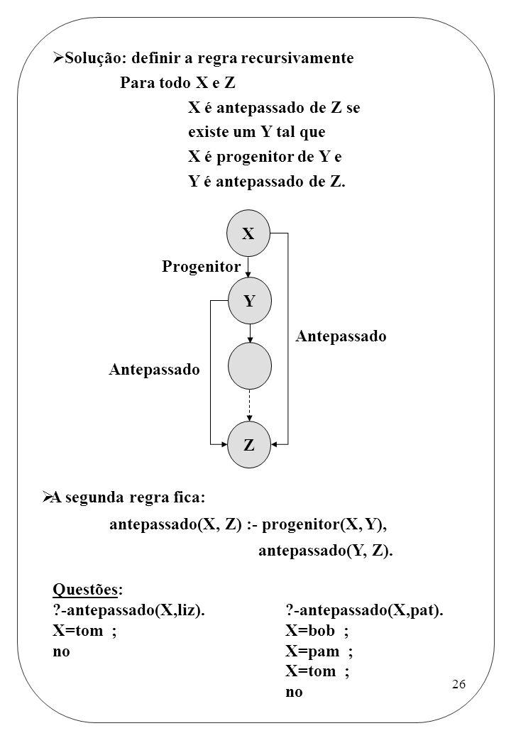 Solução: definir a regra recursivamente