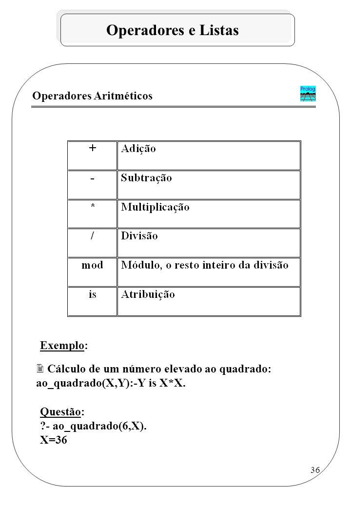 Operadores e Listas Operadores Aritméticos Exemplo: