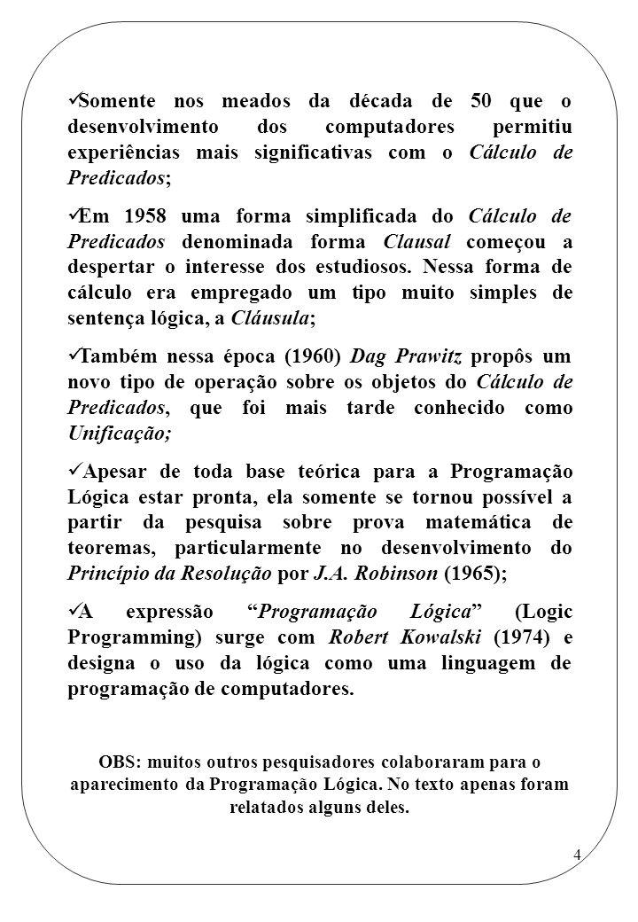 Somente nos meados da década de 50 que o desenvolvimento dos computadores permitiu experiências mais significativas com o Cálculo de Predicados;