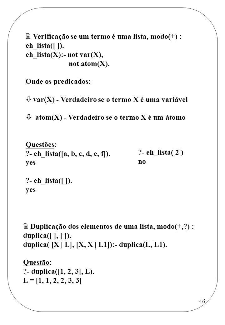 Verificação se um termo é uma lista, modo(+) :