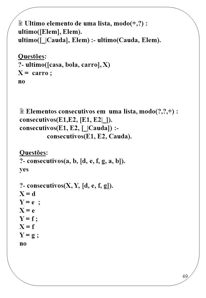 Ultimo elemento de uma lista, modo(+, ) :