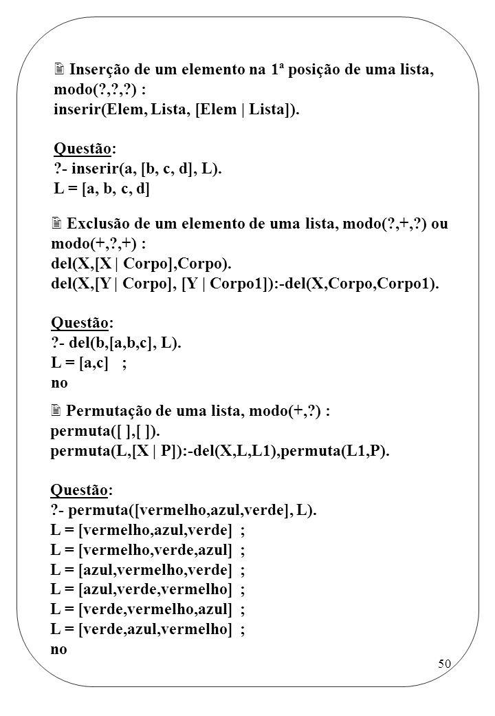 Inserção de um elemento na 1ª posição de uma lista, modo( , , ) :