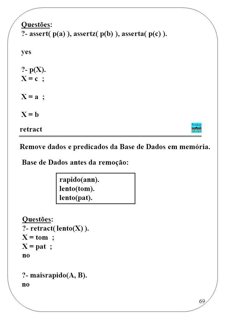 Questões: - assert( p(a) ), assertz( p(b) ), asserta( p(c) ). yes. - p(X). X = c ; X = a ; X = b.