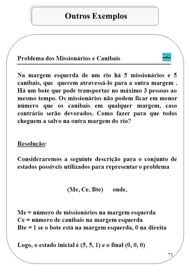 Outros Exemplos Problema dos Missionários e Canibais