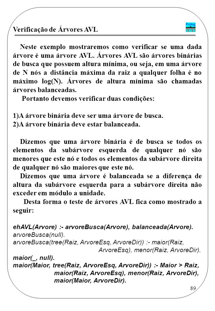 Verificação de Árvores AVL