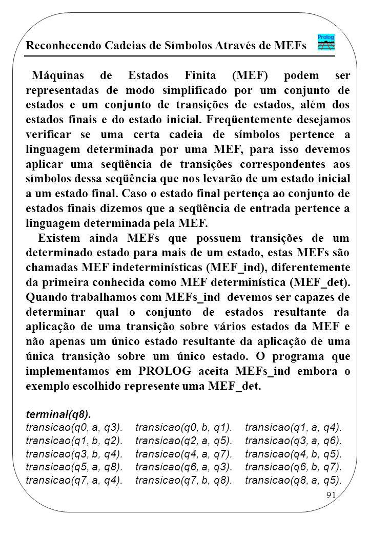 Reconhecendo Cadeias de Símbolos Através de MEFs