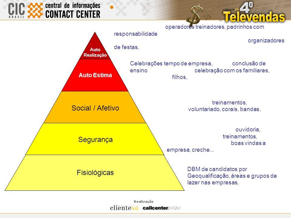 Social / Afetivo Segurança Fisiológicas