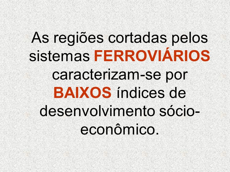As regiões cortadas pelos sistemas FERROVIÁRIOS caracterizam-se por BAIXOS índices de desenvolvimento sócio-econômico.