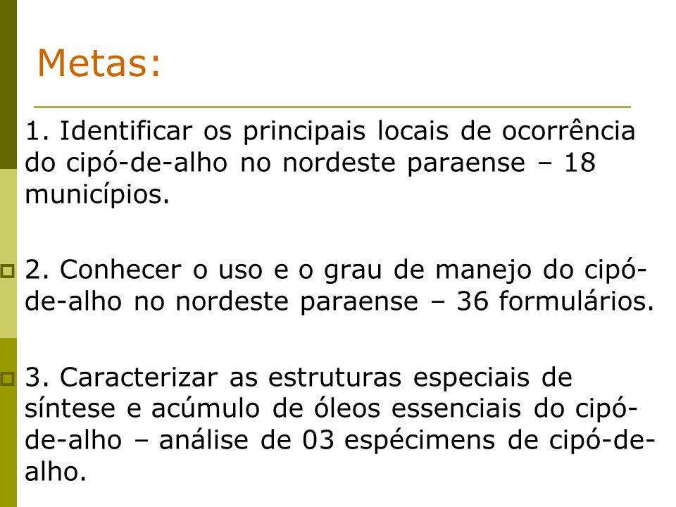 Metas: 1. Identificar os principais locais de ocorrência do cipó-de-alho no nordeste paraense – 18 municípios.