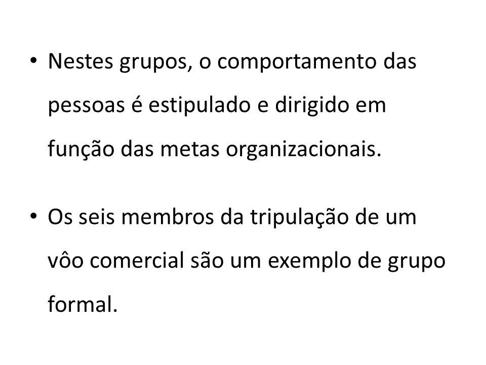 Nestes grupos, o comportamento das pessoas é estipulado e dirigido em função das metas organizacionais.