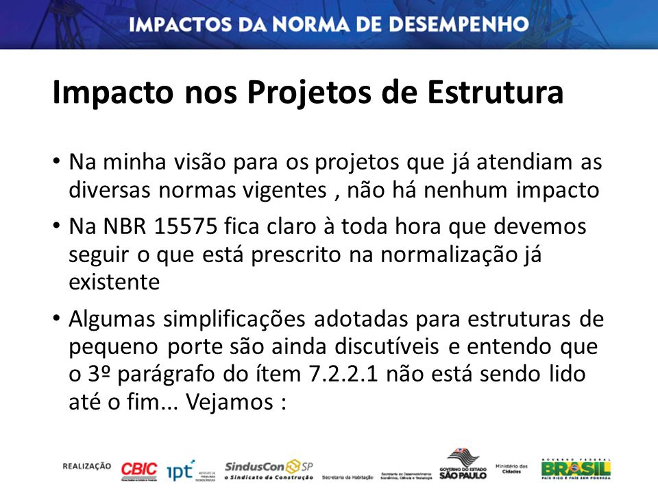 Impacto nos Projetos de Estrutura