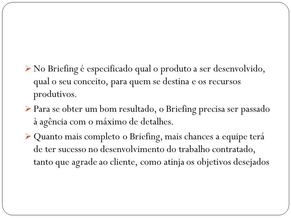No Briefing é especificado qual o produto a ser desenvolvido, qual o seu conceito, para quem se destina e os recursos produtivos.